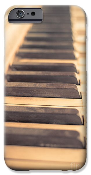 Piano iPhone Cases - Old Piano Keys iPhone Case by Edward Fielding