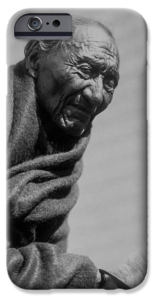 Gray Hair iPhone Cases - Old Piegan Man circa 1910 iPhone Case by Aged Pixel