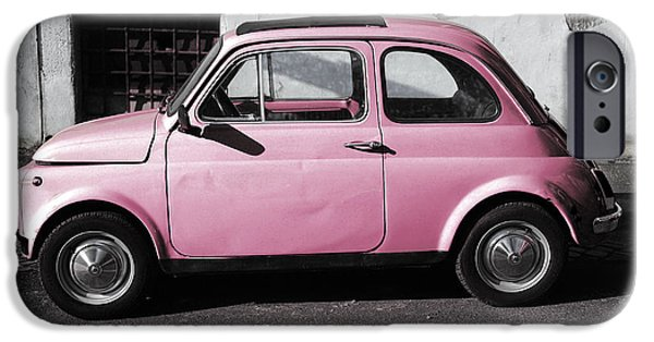 Exoticism iPhone Cases - Old pink FIAT 500 iPhone Case by Stefano Senise