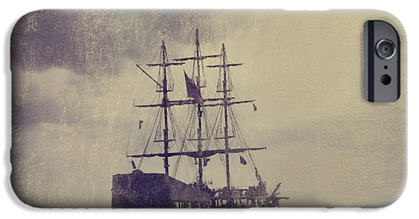 Beach Pyrography iPhone Cases - Old Pirate Ship iPhone Case by Jelena Jovanovic