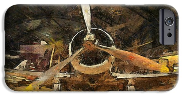 Gear Mixed Media iPhone Cases - Old Plane In The Hangar iPhone Case by Dan Sproul