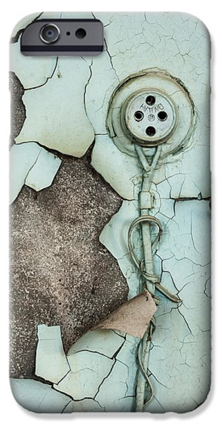 Component Pyrography iPhone Cases - Old plug on abandoned wall iPhone Case by Oliver Sved
