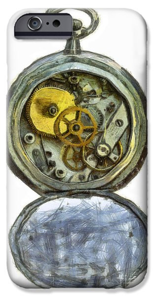 old pocket watch iPhone Case by Michal Boubin