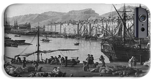Slaves Photographs iPhone Cases - Old Port Of Toulon, Seen From The Quartermasters Stores, Series Of Les Ports De France, 1757 Left iPhone Case by Claude Joseph Vernet