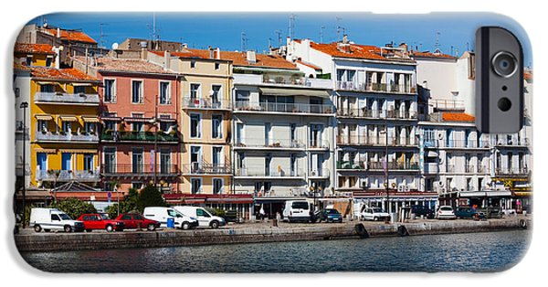 Languedoc iPhone Cases - Old Port Waterfront With Buildings iPhone Case by Panoramic Images