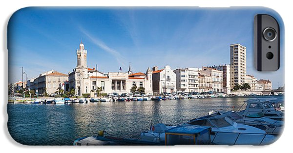 Languedoc iPhone Cases - Old Port With City At The Waterfront iPhone Case by Panoramic Images