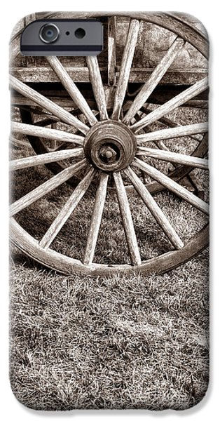 Historic Schooner iPhone Cases - Old Prairie Schooner Wheel iPhone Case by American West Legend By Olivier Le Queinec