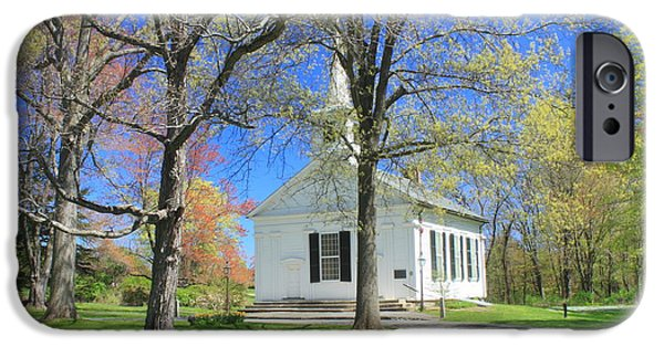 Prescott iPhone Cases - Old Quabbin Reservoir church at Mount Holyoke iPhone Case by John Burk