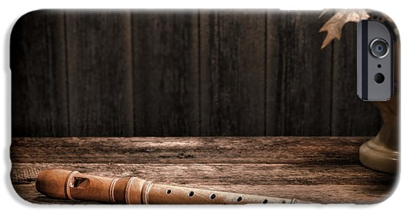 Flute iPhone Cases - Old Recorder iPhone Case by Olivier Le Queinec