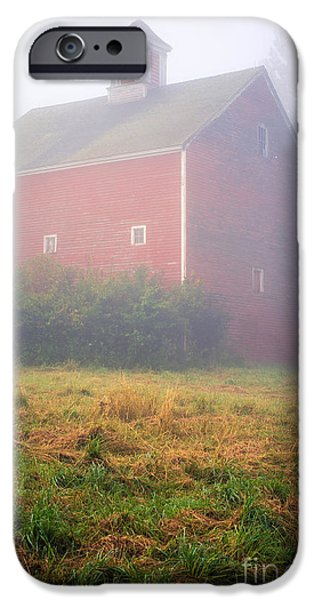 Red Roofed Barn iPhone Cases - Old Red Barn in Fog iPhone Case by Edward Fielding