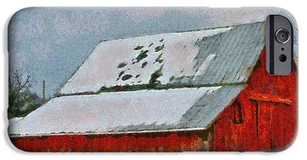 Old Barns iPhone Cases - Old Red Barn In Winter iPhone Case by Dan Sproul