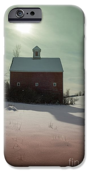 Agricultural iPhone Cases - Old red barn long shadow iPhone Case by Edward Fielding