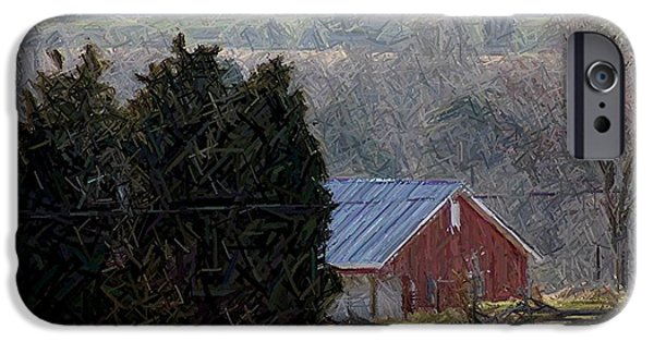 House Tapestries - Textiles iPhone Cases - Old Red Barn Near Battlefield - Perryville KY iPhone Case by Thia Stover