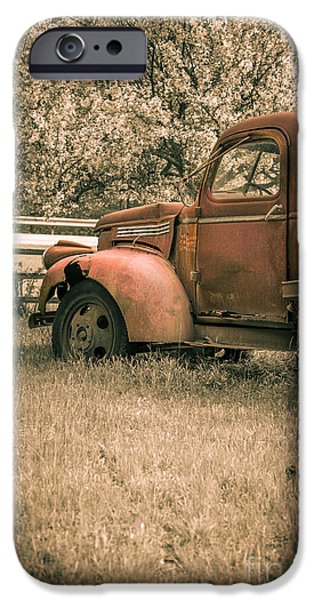 Old Truck iPhone Cases - Old red farm truck iPhone Case by Edward Fielding