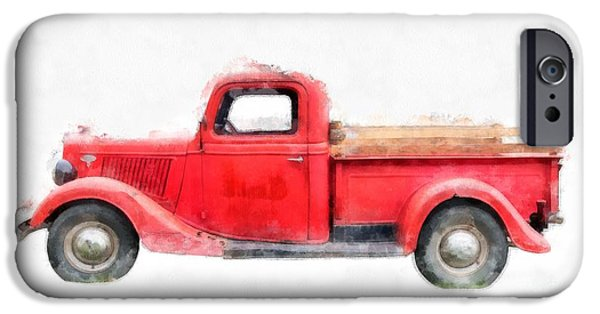 Annual iPhone Cases - Old Red Ford Pickup iPhone Case by Edward Fielding
