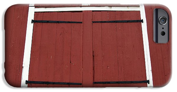 Seventeenth Century iPhone Cases - Old Red Kutztown Barn Doors iPhone Case by Anna Lisa Yoder