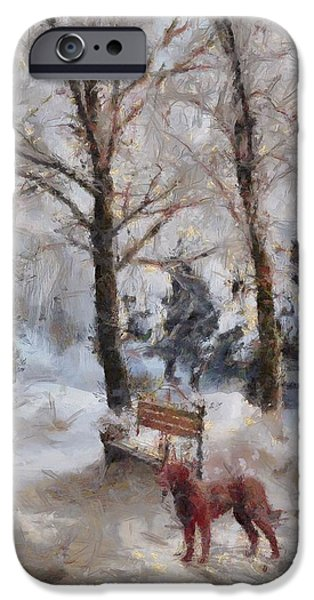 Dog In Landscape iPhone Cases - Old Red Playing in the Snow  iPhone Case by L Wright