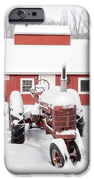 Agricultural iPhone Cases - Old red tractor in front of classic sugar shack iPhone Case by Edward Fielding