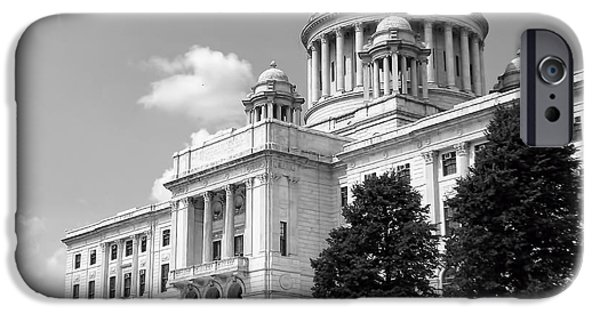 Historical Buildings iPhone Cases - Old Rhode Island State House BW iPhone Case by Lourry Legarde