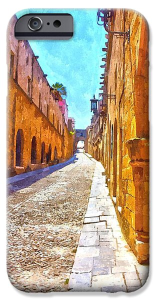 Rhodes iPhone Cases - Old Rhodes Town iPhone Case by Scott Carruthers
