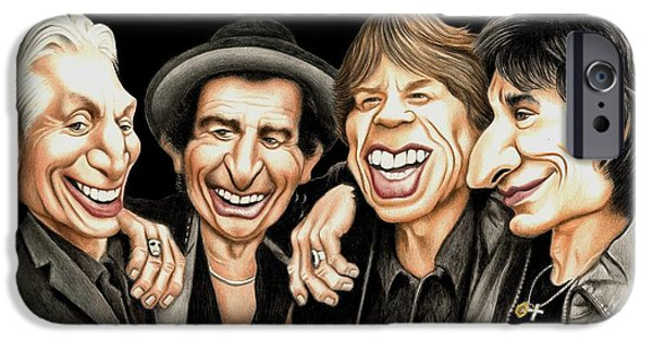 Charlie Watts iPhone Cases - Old Rockers Gimme Shelter iPhone Case by Margaret Sanderson