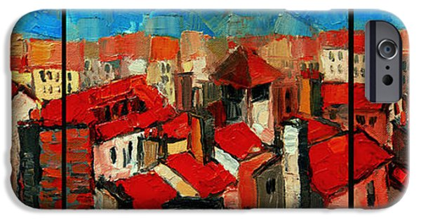 Colorful Abstract iPhone Cases - Old roofs of Lyon iPhone Case by Mona Edulesco