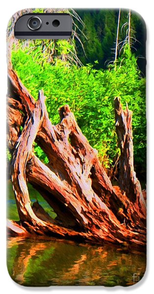 Tree Roots Mixed Media iPhone Cases - Old Roots in the River iPhone Case by John Kreiter