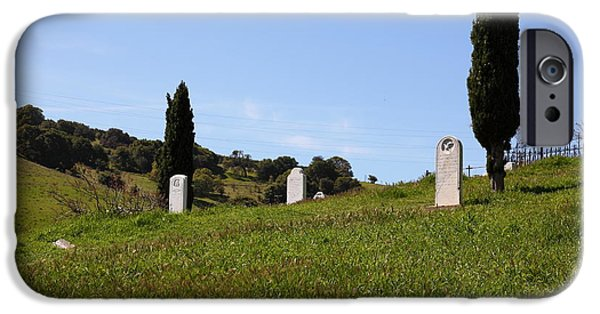 Cemetary iPhone Cases - Old Rose Hill Cemetery Atop The Rolling Hills Landscape of The Black Diamond Mines California 5D2229 iPhone Case by Wingsdomain Art and Photography