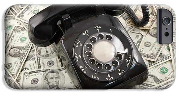 Currency iPhone Cases - Old Rotary Phone On Money Background iPhone Case by Keith Webber Jr