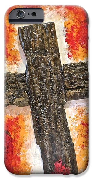 Van Dyke Brown iPhone Cases - Old Rugged Cross iPhone Case by Jim Ellis