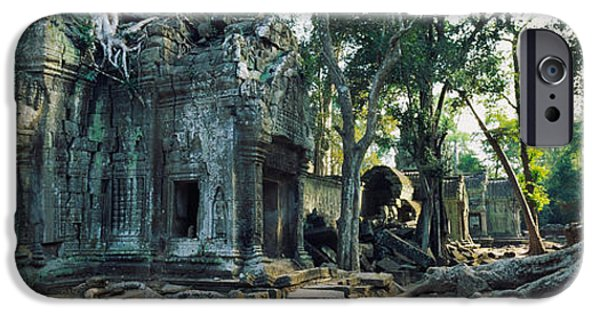 Lichens iPhone Cases - Old Ruins Of A Building, Angkor Wat iPhone Case by Panoramic Images