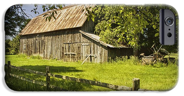 Old Barn Print Photographs iPhone Cases - Old Rustic Barn and Wooden Fence iPhone Case by Randall Nyhof