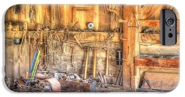 Vise iPhone Cases - Old Rustic Workshop iPhone Case by Jimmy Ostgard
