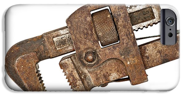 Work Tool Photographs iPhone Cases - Old Rusty Pipe Wrench iPhone Case by Donald  Erickson