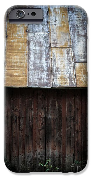 Red Roofed Barn iPhone Cases - Old Rusty Tin Roof Barn iPhone Case by Edward Fielding