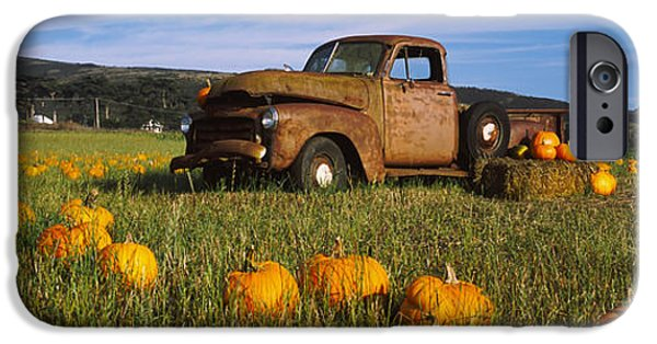 Half Moon Bay iPhone Cases - Old Rusty Truck In Pumpkin Patch, Half iPhone Case by Panoramic Images