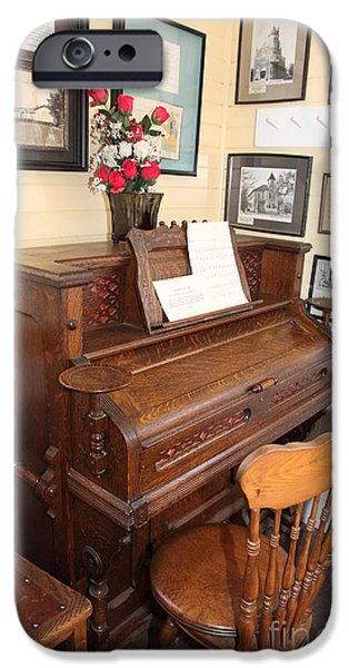 Old Sacramento California Schoolhouse Piano 5D25783 iPhone Case by Wingsdomain Art and Photography