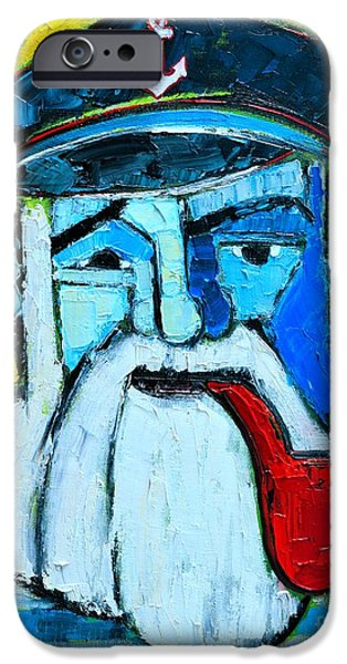 Old Man With Beard iPhone Cases - Old Sailor With Pipe Expressionist Portrait iPhone Case by Ana Maria Edulescu
