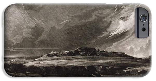 Raining iPhone Cases - Old Sarum, Engraved By David Lucas 1802-81 C.1829 Mezzotint iPhone Case by John Constable