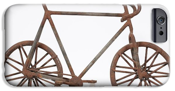 Old Sculptures iPhone Cases - Old School Bike iPhone Case by David Mayeau
