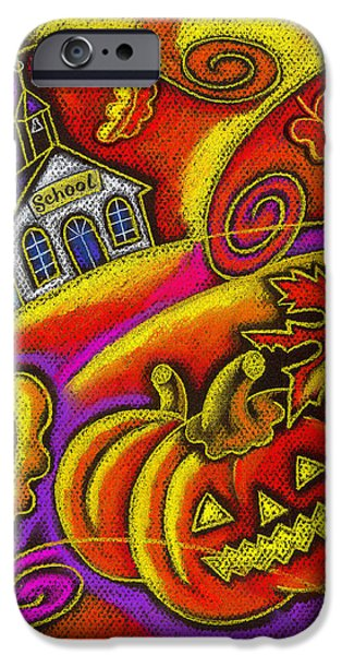 Jack O Lantern iPhone Cases - Old School House iPhone Case by Leon Zernitsky