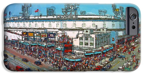 Baseball Stadiums Paintings iPhone Cases - Old School Opening Day iPhone Case by John Farr