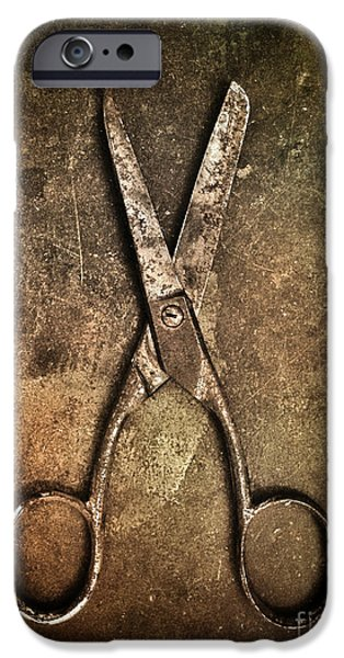 Mechanics Photographs iPhone Cases - Old Scissors iPhone Case by Carlos Caetano