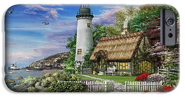 Lighthouse iPhone Cases - Old Sea Cottage iPhone Case by Dominic Davison