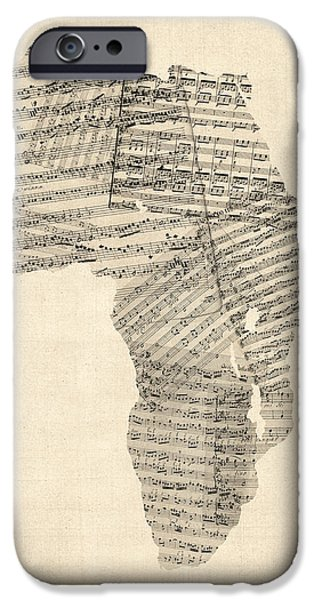 Sheets iPhone Cases - Old Sheet Music Map of Africa Map iPhone Case by Michael Tompsett