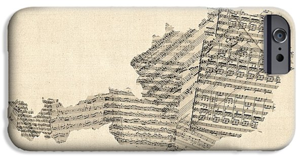 Sheets iPhone Cases - Old Sheet Music Map of Austria Map iPhone Case by Michael Tompsett