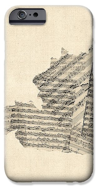Old Sheet Music Map of Austria Map iPhone Case by Michael Tompsett