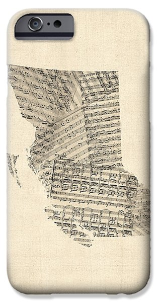 Sheets iPhone Cases - Old Sheet Music Map of British Columbia Canada iPhone Case by Michael Tompsett