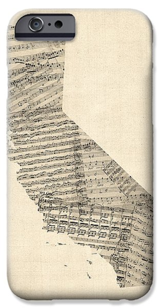 California State Map iPhone Cases - Old Sheet Music Map of California iPhone Case by Michael Tompsett