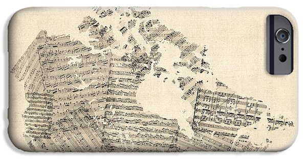 Geography iPhone Cases - Old Sheet Music Map of Canada Map iPhone Case by Michael Tompsett